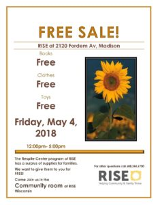 Free Sale! @ RISE (formerly Center for Families)